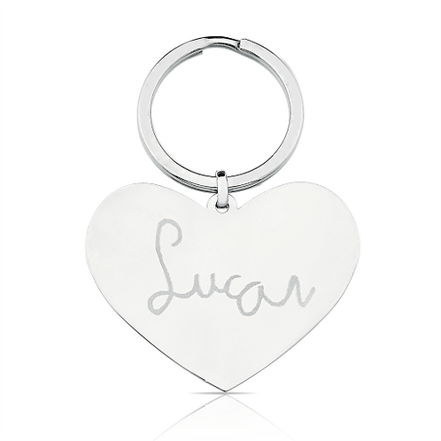 Chaveiro Coração em Aço personalizado com escrita