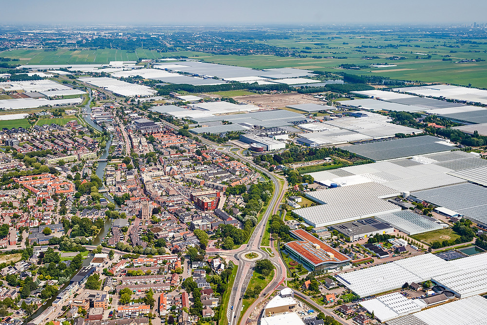 Drone picture of Priva campus and De Lier in the Netherlands