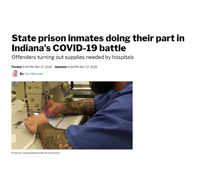 Miami Correctional Facility is making hand sanitizer, personal protection gowns, face masks and face shields. These are the supplies the state can't get enough of during the pandemic. Two production lines have been set up at the prison to produce protection gowns and masks, 200 of each per day. (CLICK TO READ ARTICLE)