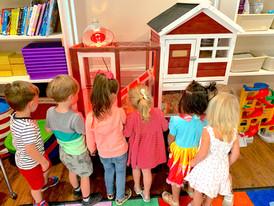 Preschool kiddos visiting the class masc