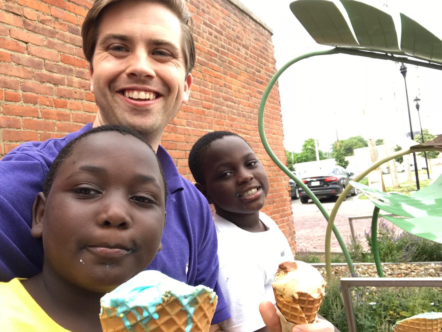 6.26.18 Obedi, Chris, Steven ice cream a