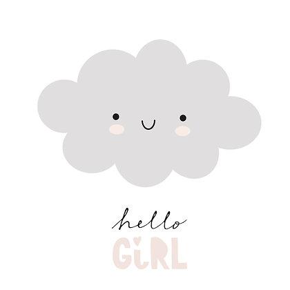 Hello girl Postkarte