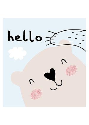 """Hello"" Bären Postkarte"