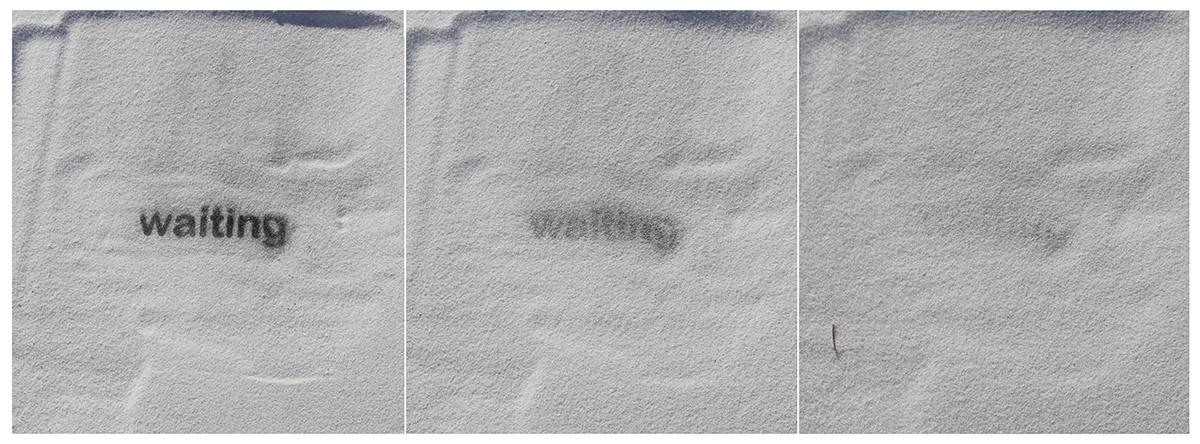 Waiting, ash print on sand