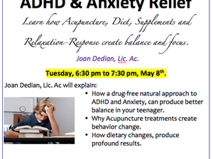 ADHD and Acupuncture - Free talk Tuesday May 8th,  D'Arcy Wellness Center