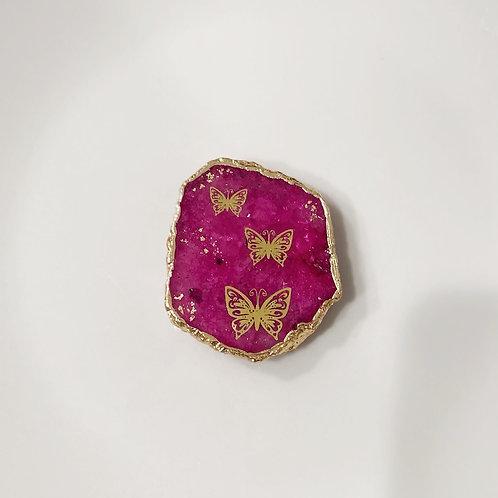 Pink Druzy Butterfly Effect