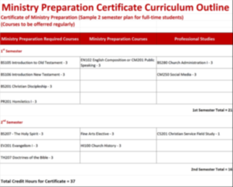 RTBC Curriculum Outline - Ministry Cert.