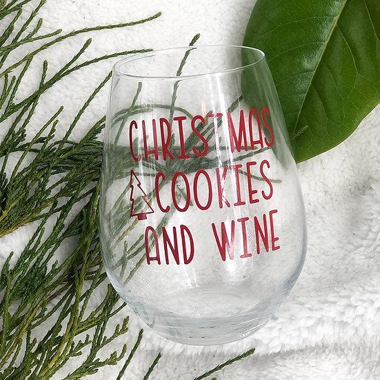 CHRISTMAS COOKIES AND WINE Stemless Wine Glass