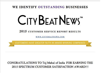 City Beat News Award to Taj Mahal for Customer Satisfaction