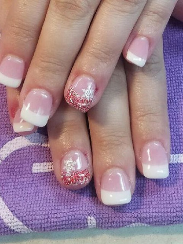Dip Powder French with a twist of Christmas!!! NailsbyCaressa