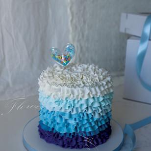 Blue Ombre Ribbon Cake