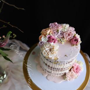 Pink Drip Cake (Semi-Naked)