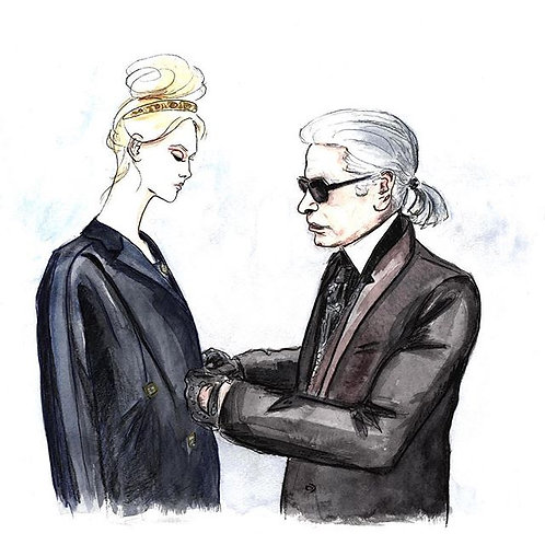 Karl Lagerfeld And A Model