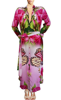 Cardigan Dress in silk pink flowers. French Bouquet