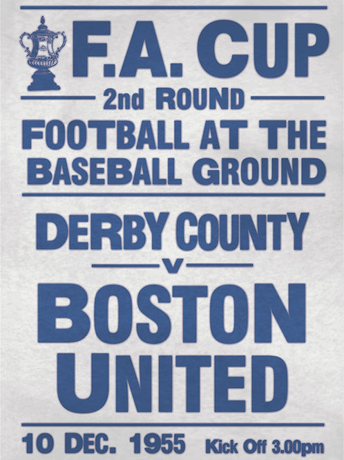 A3 RETRO FA CUP 2nd ROUND 1955 DERBY COUNTY v  BOSTON UNITED POSTER