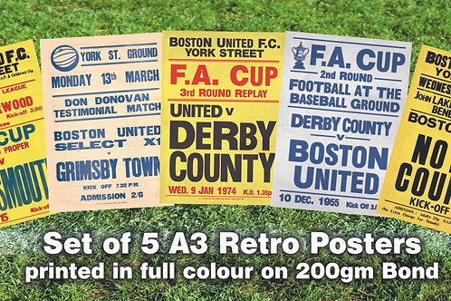 A3 RETRO POSTERS - SET OF 5 FOR £16 ...SAVE £9!