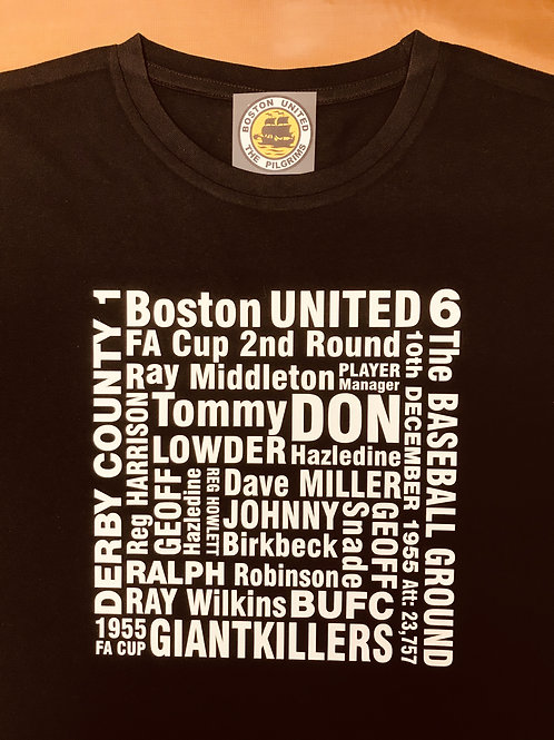 BOSTON UNITED 1955 FA CUP GIANTKILLERS T-SHIRT