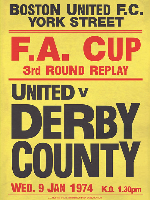 A3 RETRO FA CUP 3rd ROUND REPLAY 1974 BOSTON UNITED v DERBY COUNTY POSTER