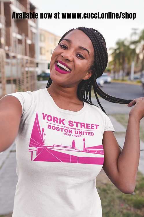 YORK STREET Pink on White Ladies T-Shirt