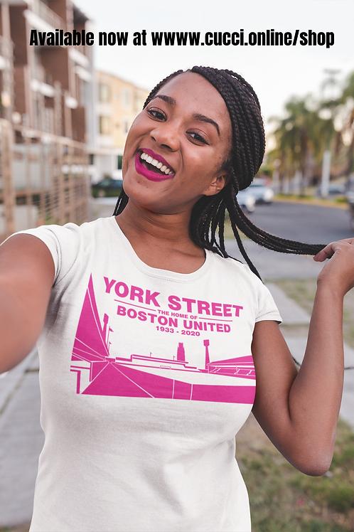 YORK STREET Pink on White Ladies T-Shirt