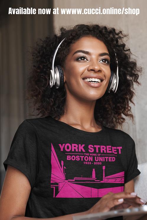 YORK STREET Pink on Black Ladies T-Shirt