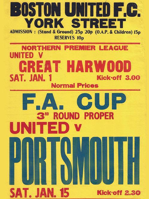 A3 RETRO 70's FA CUP v PORTSMOUTH POSTER