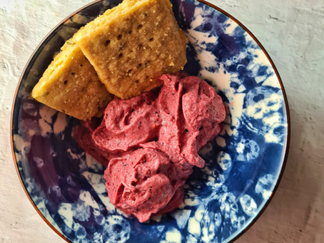 Berry & Yogurt Sorbet with Rosemary Shortbread