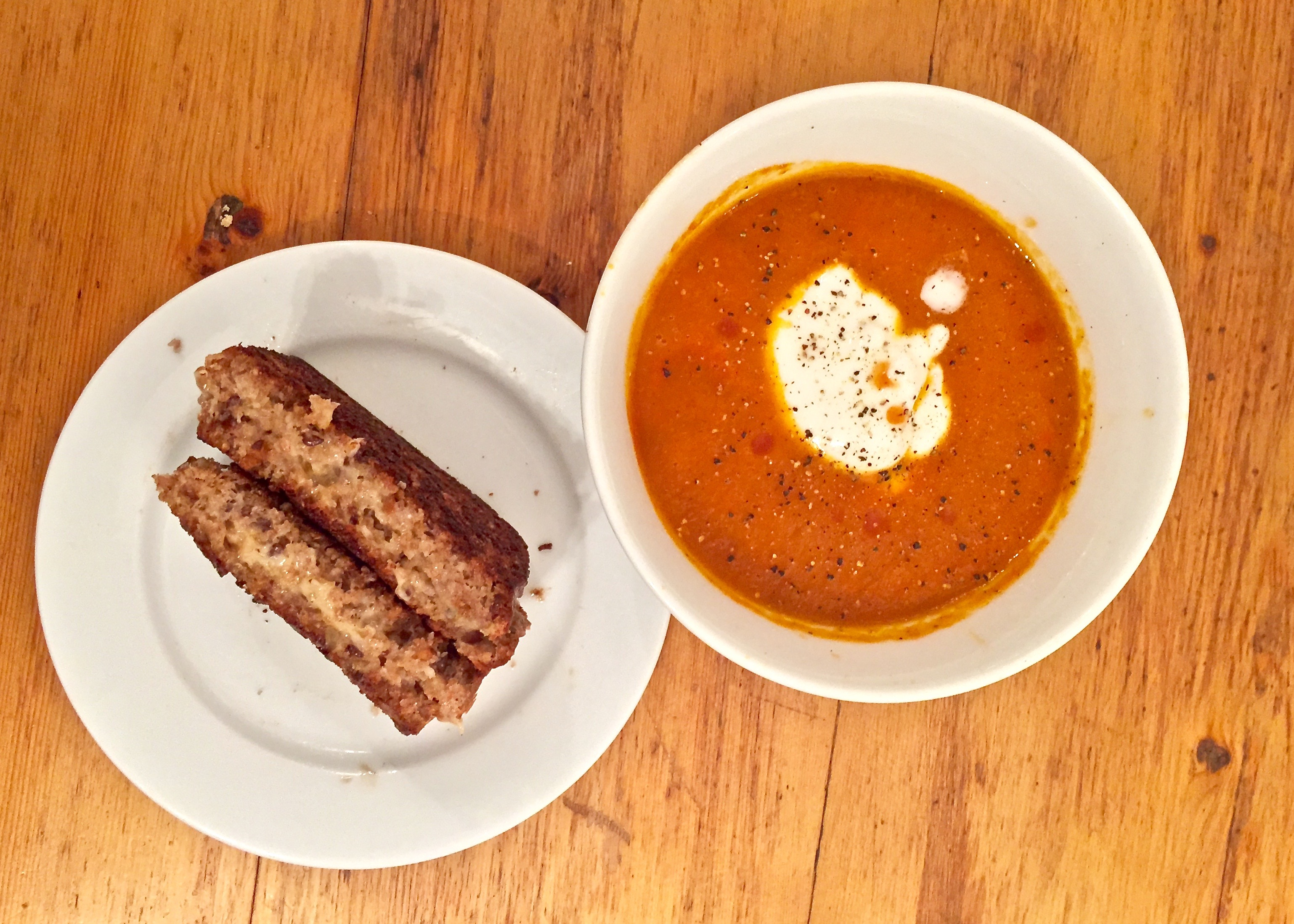 Tomato soup and toasted cheese