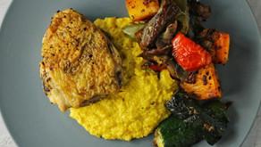 Crispy Chicken Thigh w/Corn Puree and Veggies