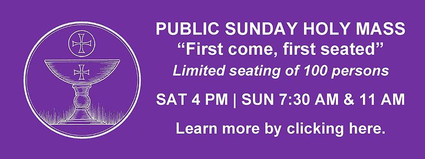 Website Banner - Lent Mass First Come Fi