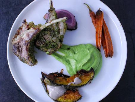 Herb Crusted Lamb Rack & Pea Purée