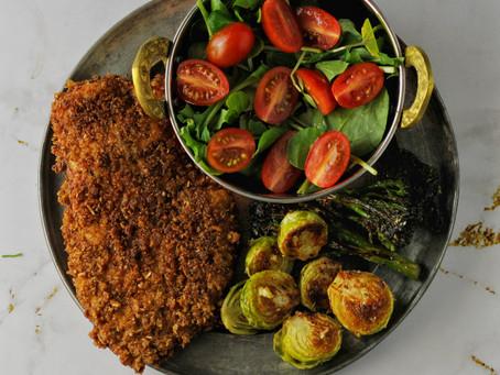 Chicken Schnitzel and Roasted Greens