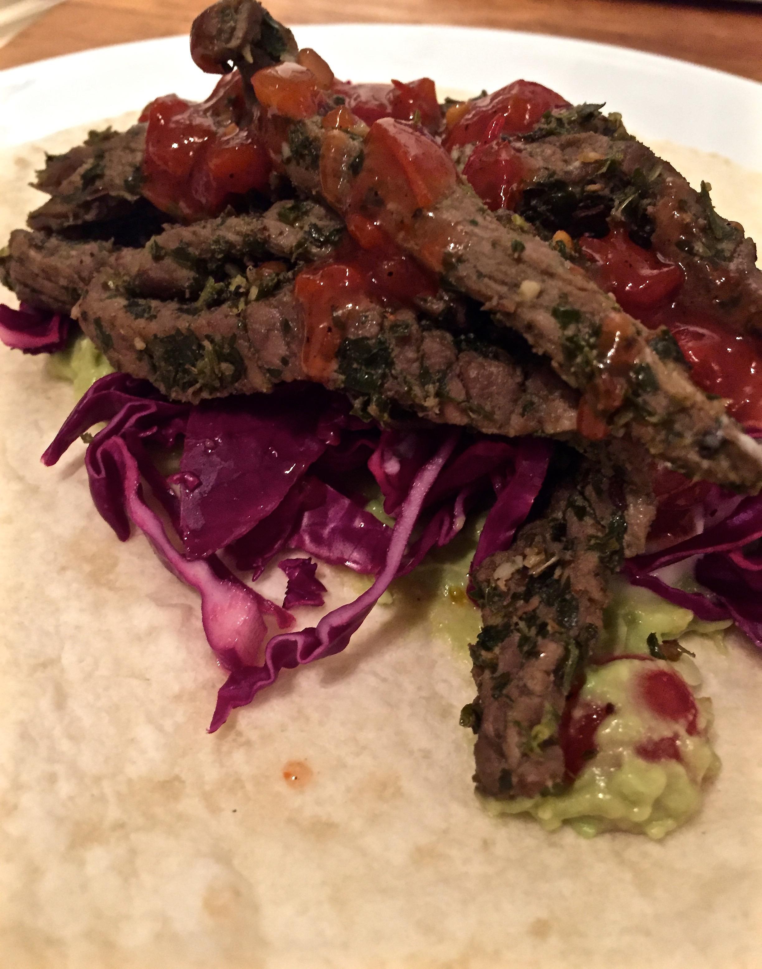 Chimichurri beef strips