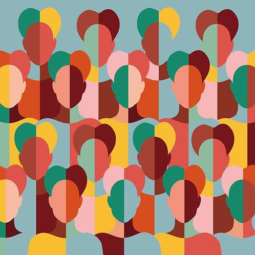 Rostos (Giclée em canvas 100 X 100 cm )