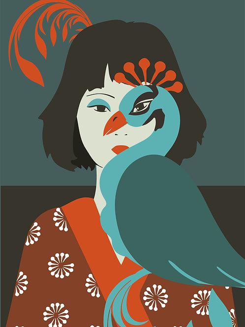 A menina e o pavão (Giclée em canvas 110 X 90 cm )