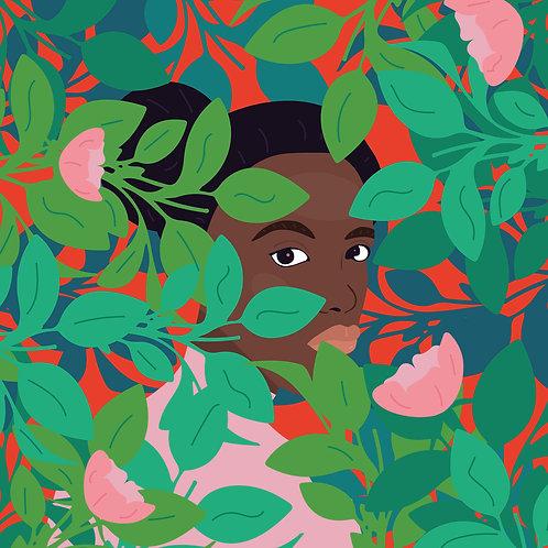 A menina no jardim (Giclée em canvas 90 X 90 cm )