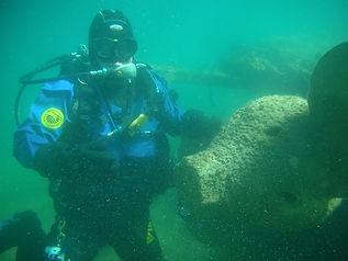 Gregg Mikolasek scuba diver diving lake hovsgol prop shipwreck diving research sidescan sonar side scan drysuit undersea exploration Mongolia consulting