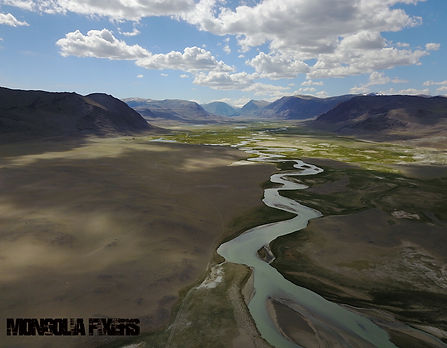Mongolia Fixers, Fixer in Mongolia, aerial view taken by Mavic Pro drone of th Tsaagan gol, white river, in Bayan Olgii Mongolia, location scouting, survey, mapping