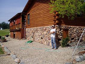 Sierra River Rock on log cabin 015.jpg