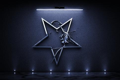 Logo-sign-mockup-on-dark-wall-with-light