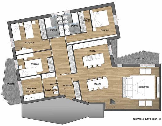 Ipotesi progetto 2 - Attico zona Po a Cremona - A3r Architettura