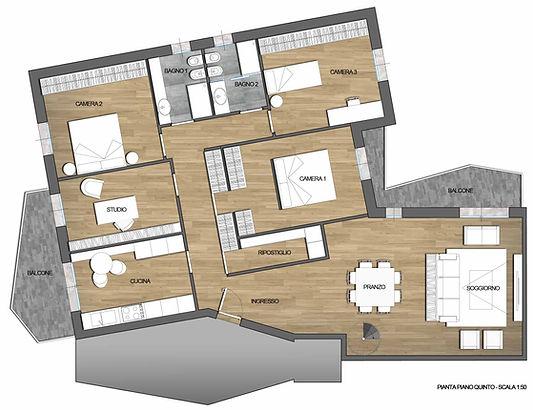 Ipotesi progetto 1 - Attico zona Po a Cremona - A3r Architettura