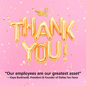 Every day and especially today on #EmployeeApppreciationDay Dallas Fan Fares is grateful for our amazing team. #WeMakeEvents #VirtualMeetingExperts #DallasFanFares