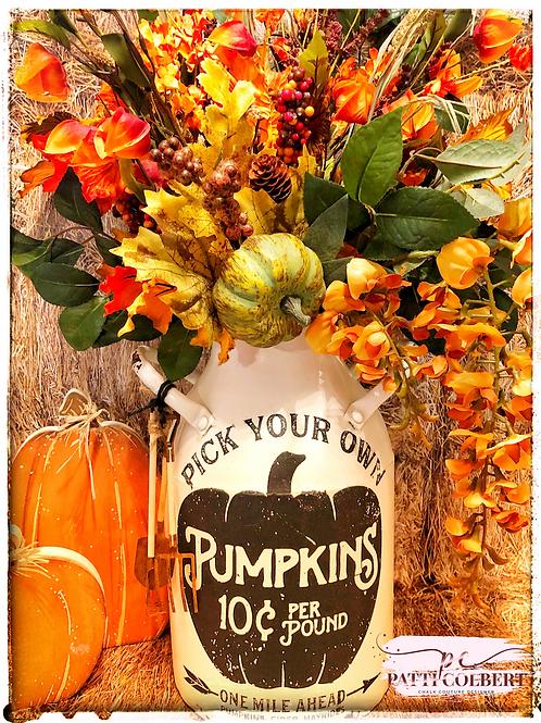 Pumpkin Patch Milk Can