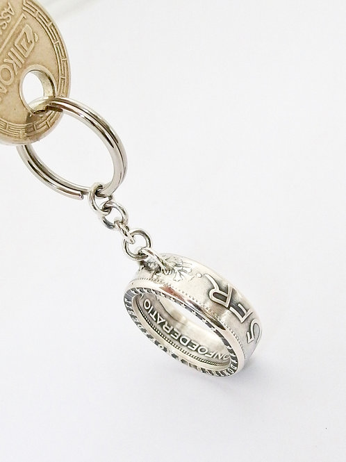 Porte-clefs avec une pièce de 5.- ancienne