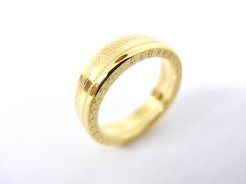 """N°19 Bague """"Helvetica"""" dorée à l'or"""