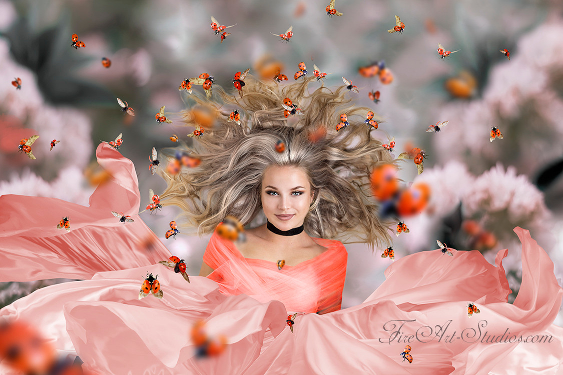 Fine Art fashion and fantasy senior portraits with photo manipulation and compositing. Lady Bug Queen.