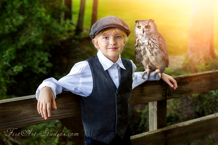 Fine Art children portraits with photo manipulation and compositing. A vintage fantasy with a boy and an owl.
