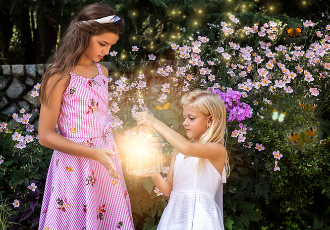 Fine Art children portraits with photo manipulation and fairy tale compositing. Sisters with a fairy dust.