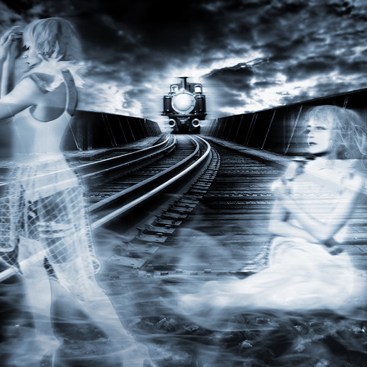 Ghost girl on the train rails